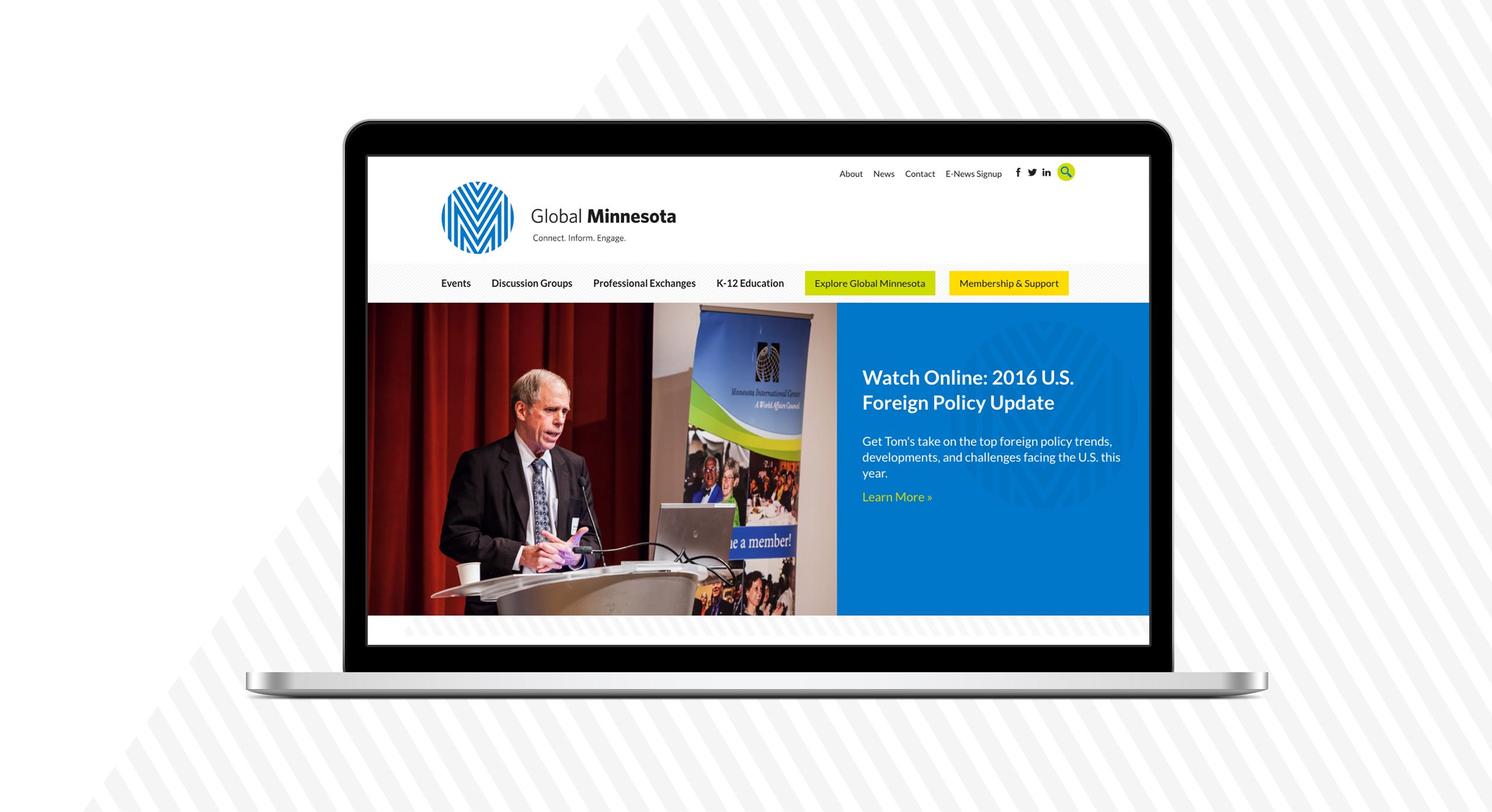 Laptop view of Global Minnesota's homepage