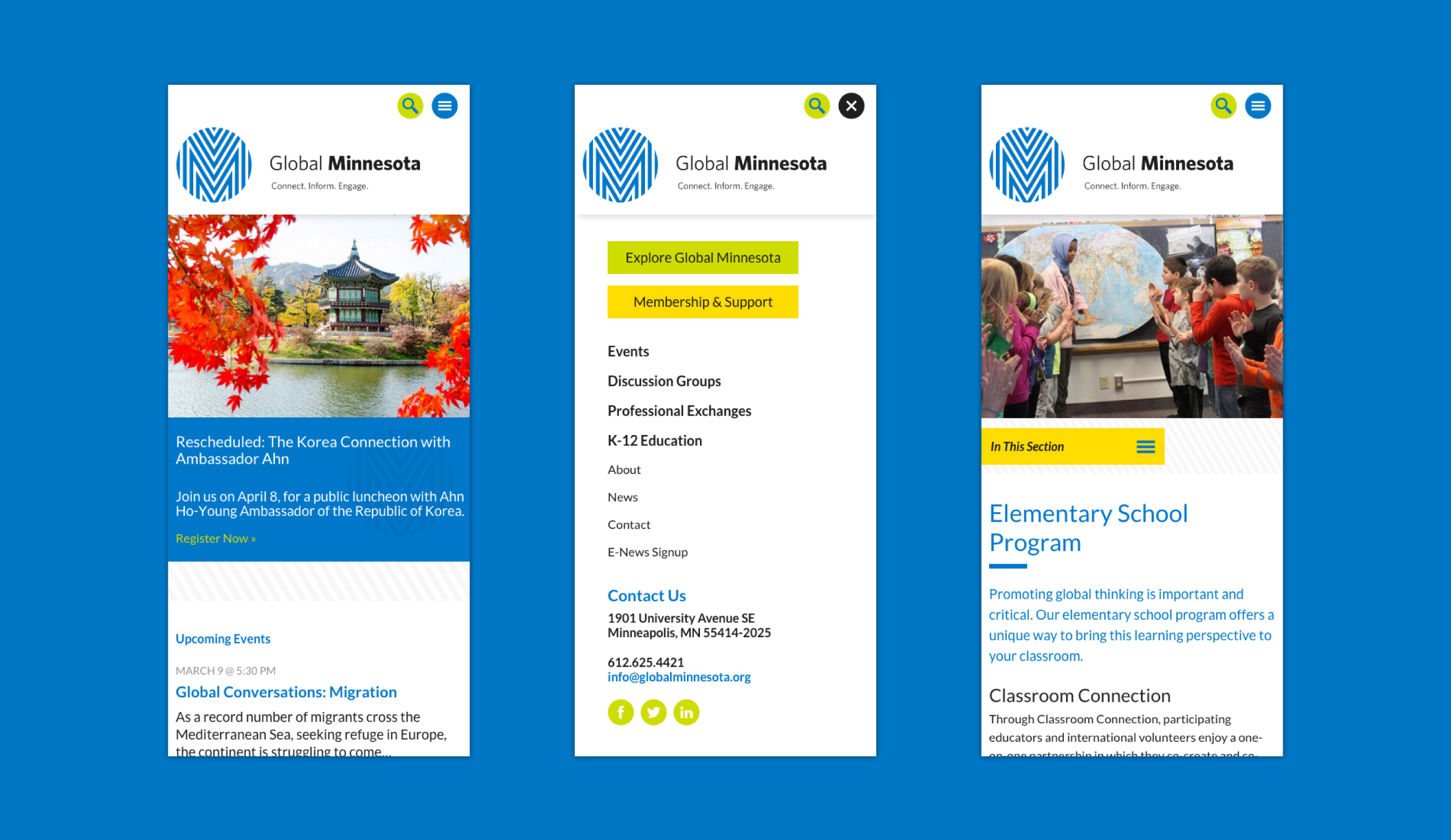 Three layouts of Global Minnesota's mobile-friendly website